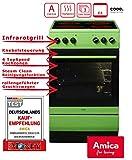 Amica SHC 11508 G Standherd / 50cm / Freistehend/Grün / Glaskeramikochfeld mit 4 Feldern / 67 Liter Backofen/Steam Clean Backofen/Cool Door 3 / Geschirrwagen/Restwärmeanzeige