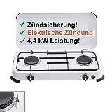 CAGO Camping-Kocher Gaskocher 2-flammig 50 mbar Weiss mit Zündsicherung, mit elektrischer Zündung Gasherd 2 Brenner