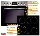 PKM Einbauherd Set Backofen Ceran Kochfeld rahmenlos Herd Set | Bräterzone | Teleskopauszüge | Timer | 2+1 Dualzone | rahmenlos | Heißluft | Umluft | Grill
