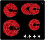 K&H® 4 Zonen Glaskeramikkochfeld mit Knebel Steuerung 59cm Elektro Autark rahmenlos CK-7206K